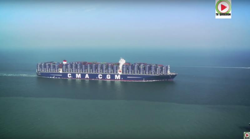 Le Havre - Le CMA-CGM Bougainville plus grand porte-conteneurs au monde -