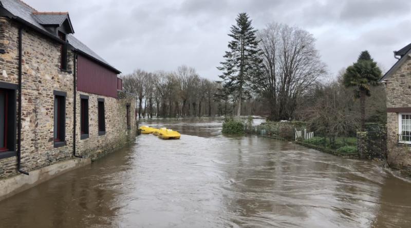 Inondations Crue de l'Oust à Malestroit - Bretagne Télé